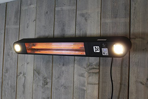 Patio Heater Elegance with LED lights - 1500 Watt outdoor heater - Wall Mount - Black