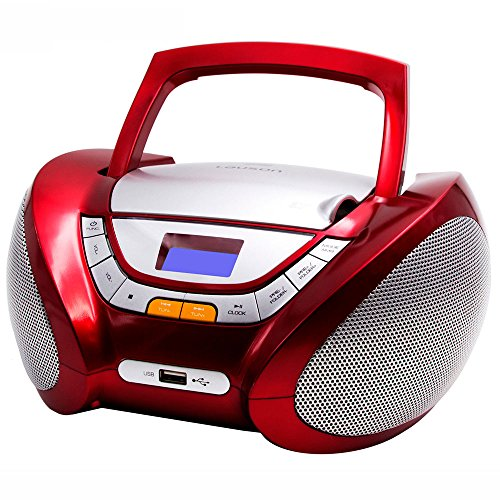 Lauson Radio CD Portatile USB | Lettore Cd Bambini | Stereo Radio FM | Boombox | CD/MP3 Player | AUX IN | LCD-Display | CP442 (Rosso)