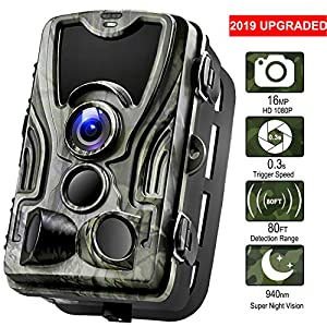 "Wildlife Camera, 16MP 1080P HD 80ft Detection Range【Upgraded 2019】Game Camera Night Vision with 120° Wide Angle, 940nm IR LEDs, 2.0""TFT-LCD Display, IP65 Hunting Trail Camera for Gardens & Hunting"