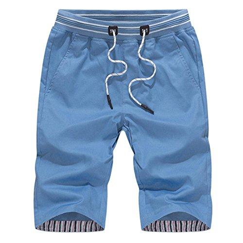 Männer Schnell Trocknende Badehose ❤️mit Streifen und Mesh-Futter Strand Shorts mit Verstellbarer Zugschnur (Blau, XL)