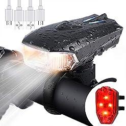 WOSTOO Luce della Bici del LED, Set di luci per la Bicicletta USB con 5 modalità Luce