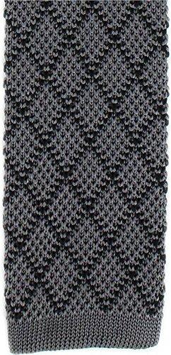 Michelsons of London Charcoal/Black Silk diamant cravate Skinny tricoté de