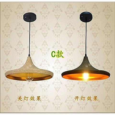 LYNDM Il nuovo villaggio americano ferro lampadari stile Liberty sisal loft personalità industriali strumenti musicali ristorante cafe lounge light C) ?Senza luce?