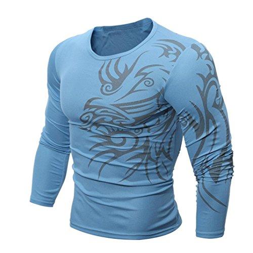 Langarmshirt Herren, Sunday Men Fashion Printing Männer Langarm T-Shirt Mode 2018 Sommer Bluse Outdoor Sports (XXL, Blau) (T-shirt Langarm Männer Mode)
