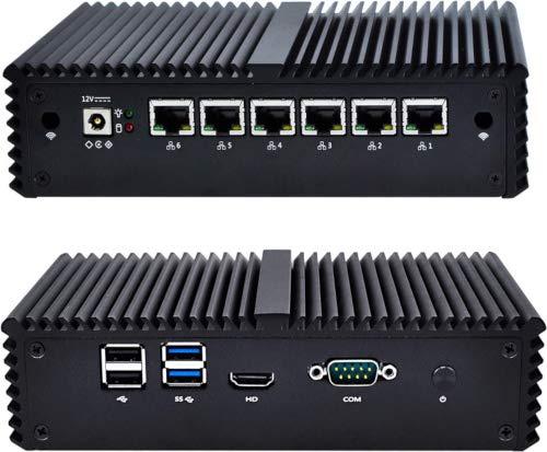 NRG Systems IPU661 Router/Firewall (lüfterlos) mit Intel Core i3-6100U, 4 GByte RAM, 6xLAN, mSATA SSD (30GB, Schwarz)