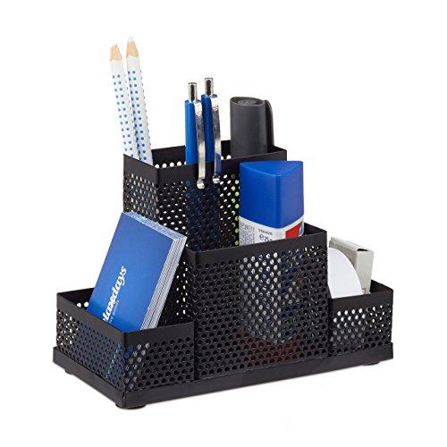 Relaxdays 10022488_46 portaoggetti in metallo, portapenne, portamatite, organizer scrivania ufficio, hxlxp: 11x16x8 cm, nero