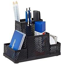 Relaxdays Schreibtischorganizer Metall, Büro Stiftehalter, Schreibtischköcher Kinder, gelocht, HxBxT: 11x16x8cm, schwarz
