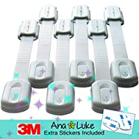 Easy Install Child Safety Locks, Baby Proof Cabinets with No Trapped Fingers, No Tools Needed, 6 Pack by Ana and Luke