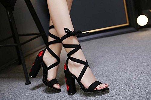 L&Y Donna pompe a punta aperte 2017 Estate Sandali ricamati a spessore ricamato estate Sandali di moda High Heel Rosso