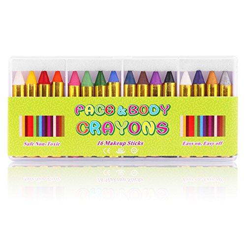 16 colori face paint, jwlife face pastelli matite da trucco sicure e atossiche per bambini, perfetto per carnevale, pasqua, natale