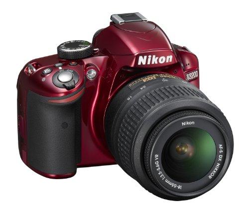 Nikon D3200 24.2MP Digital SLR camera (Red) with AF-S 18-55mm VR II Kit Lens, 8GB Card, Camera Bag