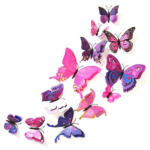 3D Schmetterlinge Doppelflügel Effekt Blumen 12er Set Dekoration Wandtattoo (Pink-Lila)