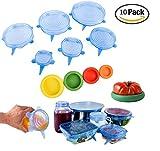 10 Stück Silikondeckel stretch Dehnbar Silikon Frischhalte Deckel in verschiedenen Größen Silikon deckel Set für Dosen, Gläser, Becher, Töpfe, Tassen, Gemüse, Obst