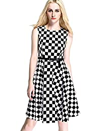 Womdee Women Vintage Cocktail Colorblock Sleeveless Swing Casual Tea Dress with Belt