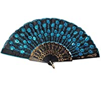 Aofocy Abanicos de Mano Abanicos de Seda Lentejuelas con Pavo Real Plegado a Mano Azul Plegable