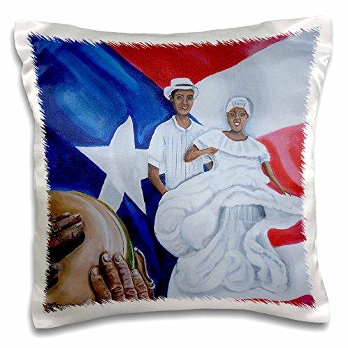 Melissa A. Torres Art Puerto Rico-Ein Paar Bomba Tänzer, eine Conga, und Puerto Rico Flagge als Hintergrund-Kissen Fall, Satin, weiß, 16x16 inch Pillow Case
