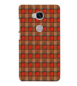 Fuson Designer Back Case Cover for Huawei Honor 5X :: Huawei Honor X5 :: Huawei Honor GR5 (Square Red Brown dots flowers)