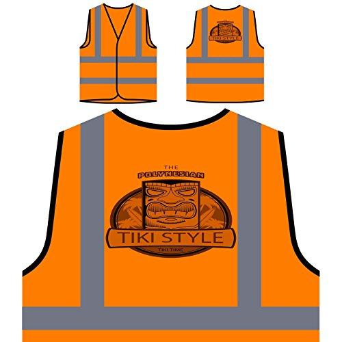 Aloha Tiki Polynesische Maske Personalisierte High Visibility Orange Sicherheitsjacke Weste o732vo