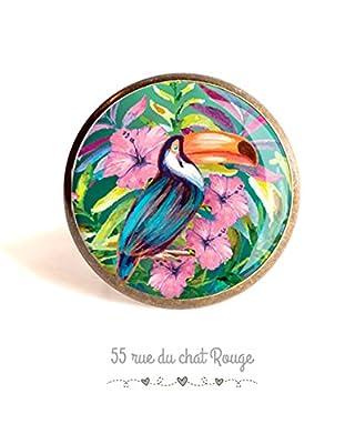 Bague cabochon 25 mm oiseaux toucan tropique exotique, hawaii, fleurs roses