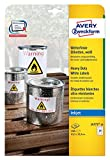 Avery Zweckform J4773-10 Wetterfeste Folien-Etiketten (A4, 240 Stück, 63,5 x 33,9 mm) 10 Blatt weiß