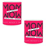 Mother's Day Gifts for Mother MOM & WOW Printed Coffee Mug Gift Set of 2