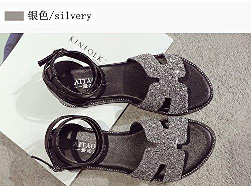 XY&GKBig Size Damen Sommer Sandalen Füße Fett Fuß breit Füße Große Werften für Frauen Sandalen mit flachem Boden, komfortabel und schön 39 Silver