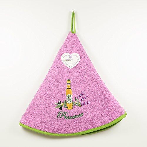Torchon Essuie Mains Éponge Rond - 100% Coton Uni Brodé Violet clair Ø65cm – Lavande bouteille