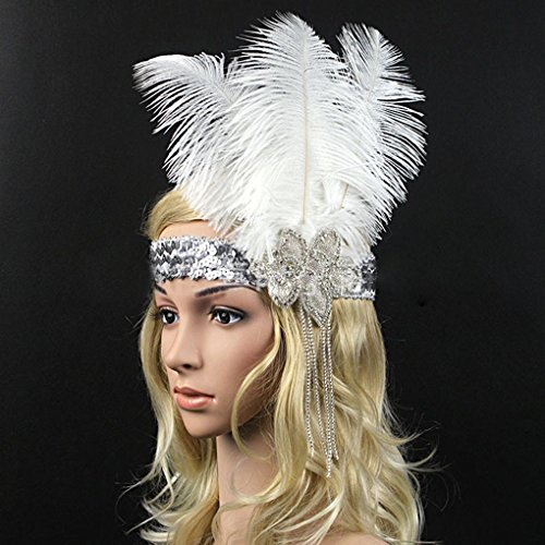 Kostüm Themen Indischen Party - F-blue Frauen-Strauß-Feder-Kostüm Stirnband-elastische Pailletten Strass Kopfstück