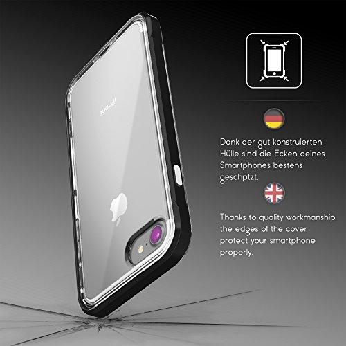 Urcover® Apple iPhone 7 Plus / 8 Plus Aluminium Bumper mit TPU Back-Case | Handy Schutz-Hülle in Hell Blau | Alu Cover | Smartphone Zubehör Randschutz Tasche Schwarz
