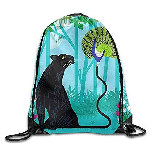 druckte Sportbeutel, Premium Drawstring Gym Bag, The Peacock and The Panther Drawstring Backpack Rucksack Shoulder Bags Gym Bag ()