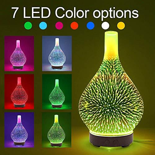 Anself 100 ml de vidrio 3D Difusor de aroma Difusor de aceites esenciales Aromaterapia Humidificador de 7 LED para el hogar Hotel Yoga Ocio SPA