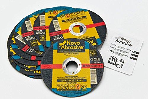 NOVOABRASIVE Disque à tronçonner pour acier 125 x 1,6 mm. Lot de 10 disques. Pour Meuleuse d'Angle