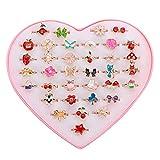 36 pièces Enfants Bagues Fille, Bagues colorées réglables princesse bijoux bagues avec boîte en forme de coeur Jouer Habiller des bagues Enfants pour enfants faveurs de fête d'anniversaire