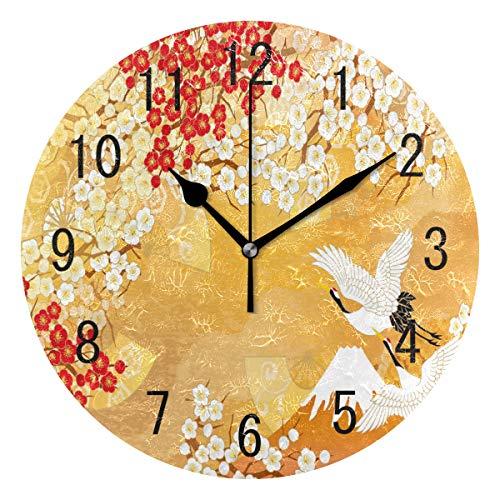 Domoko Home Decor Acryl Rund Japan Flower Crane Bird Wanduhr Geräuschlos Silent Uhr Kunst für...