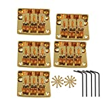 Yibuy regolabile ponte cordiera per 3corda Cigar box chitarra elettrica set di 5, Golden