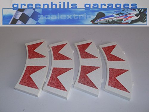 Greenhills Scalextric Standard Curve Inner Border White/Red Chevrons x 4 T42 New - MACC66