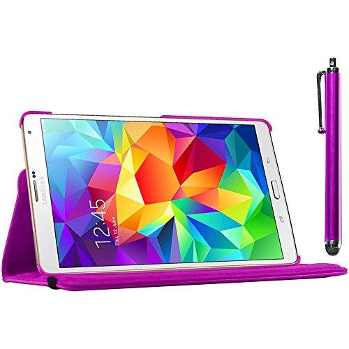 ebestStar - kompatibel Samsung Galaxy Tab S 8.4 Hülle SM-T700, SM-T705 Rotierend Schutzhülle Etui, Schutz Hülle Ständer, Rotating Case Cover Stand + Stift, Lila [Tab: 212.8 x 125.6 x 6.6mm, 8.4'']