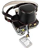 Protección completa inferior abertura de la caja Versión PU de protección de la cámara del bolso de cuero con el trípode Diseño compatible para Olympus OM-D E-M10 Marcos 2 EM10 Mark II con 14-42mm F3.5-5.6 II lente de R con la correa del cuello del hombro Cinturón Negro