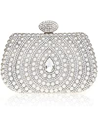 KAXIDY Sac a Main de Soiree Pochette Soirée de Mariage Perles Imitation Cristal Sacs Pochette