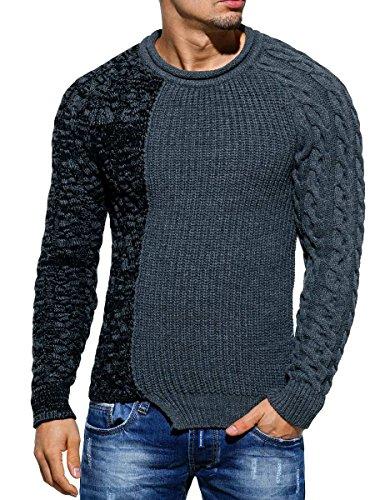 Maglione Fatto a maglia felpa da uomo maglioncino invernale effetto asimmetrico in maglia slim fit Anthrazit M