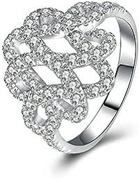 Aooaz Gioielli anello fascia anello fidanzamento anello argento sterling Fiore Argento anelli donna anello zirconi