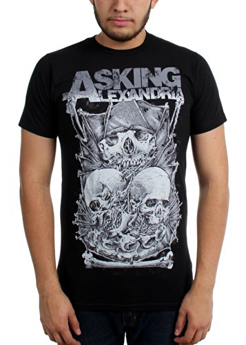 Official Asking Alexandria Skull Stack T Shirt (Schwarz) Schwarz