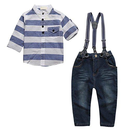3pz Della Camicia A Maniche Lunghe Bambino + Jeans + Bretelle Abiti Completi e Coordinati (Maniche Lunghe Per Bambini Jeans)