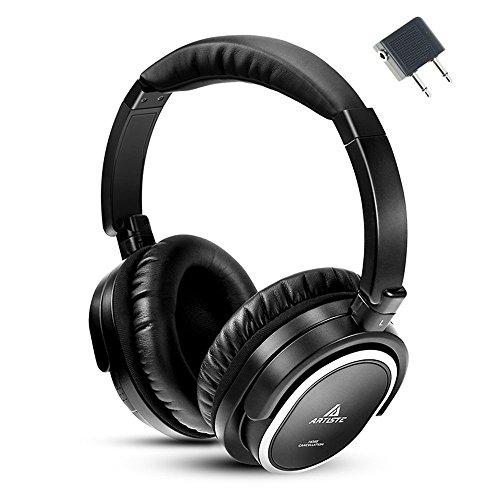 Artiste Awn100casque Réducteur de bruit Isolation phonique, filaire casque Hi-Fi avec micro casque fermé avec avion Vol prise jack audio Converter