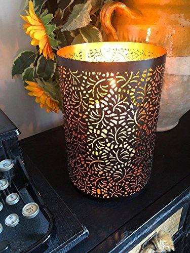 Shaker Antiquitäten (Rustikale Black & Kupfer Metall Teelicht Kerzenhalter Chic Antique Style Laubsägearbeiten)