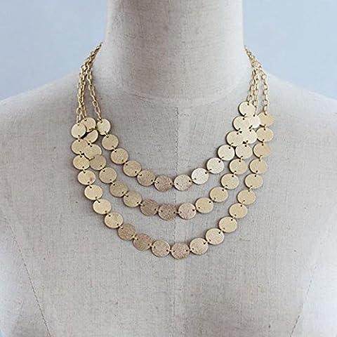 Tpocean Layered Boho Sequins Collier Doré avec disque Dainty Tour de cou collier ras du cou pour femme
