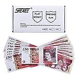 Prop Money Realistic Pounds £ 5.000 Vollständige Druckversion 50-Pfund-Scheine-Stapel in Bank Strap, für Geld Gun Cash Cannon