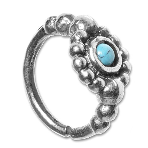 viva-adorno® 1,0mm Nasenring Silber Nasenpiercing Piercing Hoop Ring Vintage Antik Style verschiedene Designs Z516s, D4