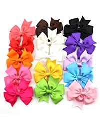 OULII 15 Colours Cute Sweet Bowknot Style Elastic Headbands Hair Bands Accessories Photo Props for Baby Girls