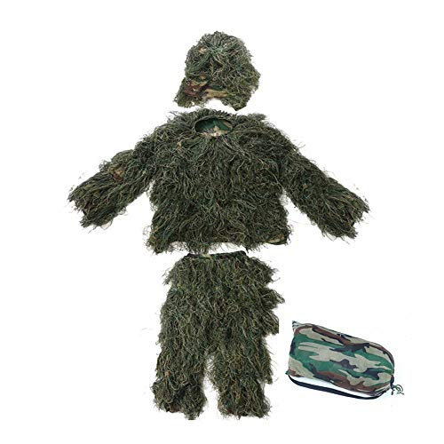 WEIFAN Ghillie Suit 5 pcs, Adult Jungle Field cs Stealth Grass Clothes to eat Chicken Camouflage Clothing